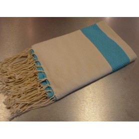 Foutas - Serviettes 100x200 Fouta 100 x 200 cm - blanc et bleu made by Soap and the City