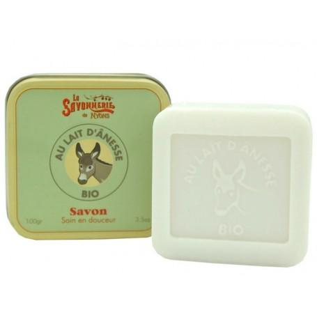 Savon au lait d'ânesse BIO en boîte métal La Savonnerie de Nyons à Paris chez Soap and the City, savons, bougies, parfums, en...