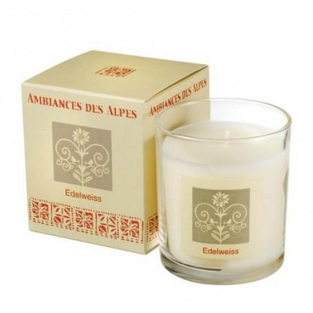 Edelweiss, Bougie parfumée 40h Ambiance des Alpes à Paris chez Soap and the City, savons, bougies, parfums, encens et peluches