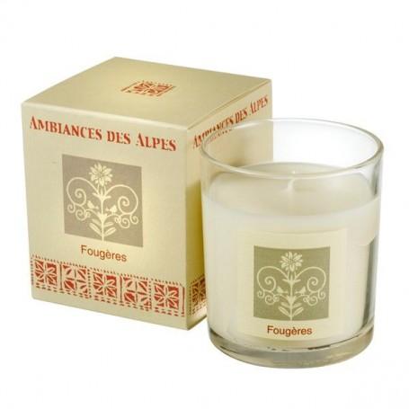 Bougie parfumée 40h, Fougères Ambiance des Alpes à Paris chez Soap and the City, savons, bougies, parfums, encens et peluches