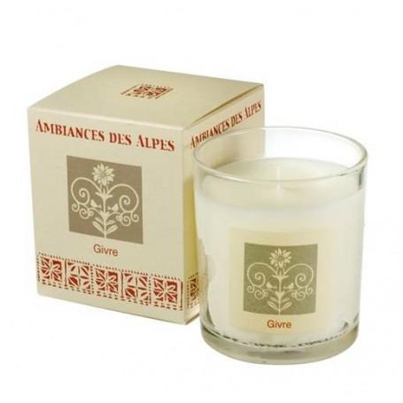 Givre, Bougie parfumée 40h Ambiance des Alpes à Paris chez Soap and the City, savons, bougies, parfums, encens et peluches