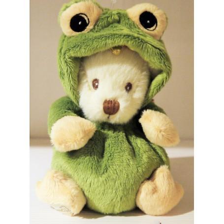 Peluche ours déguisé en prince grenouille