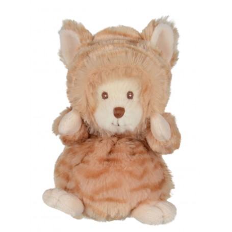 Peluches et doudous Peluche ours déguisé en chat roux made by Bukowski
