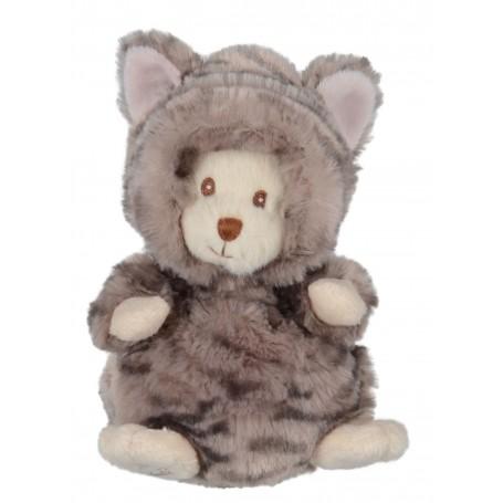 Peluches et doudous Peluche ours déguisé en chat gris made by Bukowski