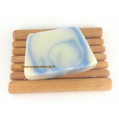 Tranche savon à froid surgras, Bleu-Cannelle de Savonissime a Paris