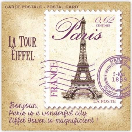Sachet parfumé Pivoine - Carte Postale tour Eiffel