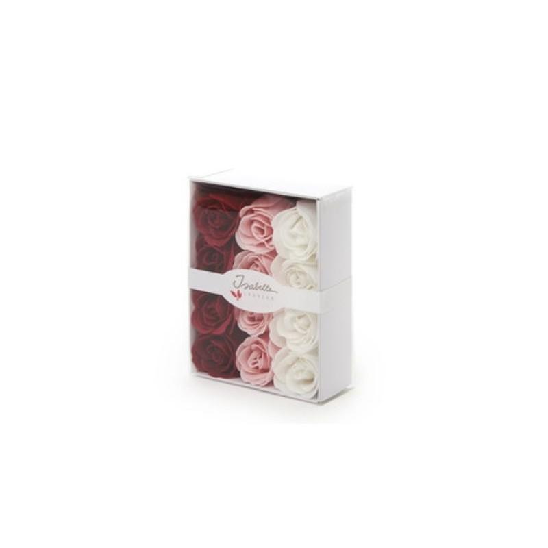 Boîte cadeau avec 12 roses en savon