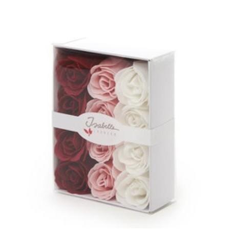 Boîte cadeau avec 12 roses en savon from De Laurier in Paris @ Soap and the City, soaps, candles, incens, perfumes and teddies