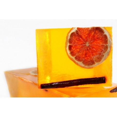 Handcut soaps Cinnamon Orange, cut soap translucent made by Autour du Bain