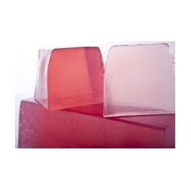 Handcut soaps Rose et Lychee, cut soap translucent made by Autour du Bain