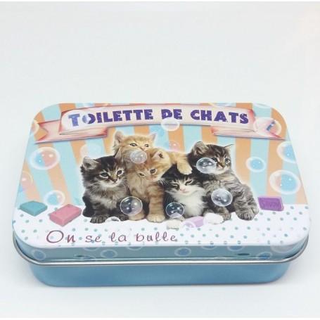 Boîte métal, Toilette des Chats La Boutique à Paris chez Soap and the City, savons, bougies, parfums, encens et peluches