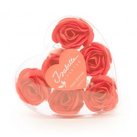 Roses en savon x 6, boîte coeur De Laurier à Paris chez Soap and the City, savons, bougies, parfums, encens et peluches