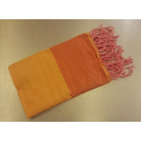Fouta 100 x 200 cm - Orange papaye avec bandes roses La Boutique a Paris