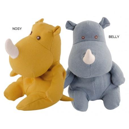 Peluche Rhinocéros en lin, Little Belly