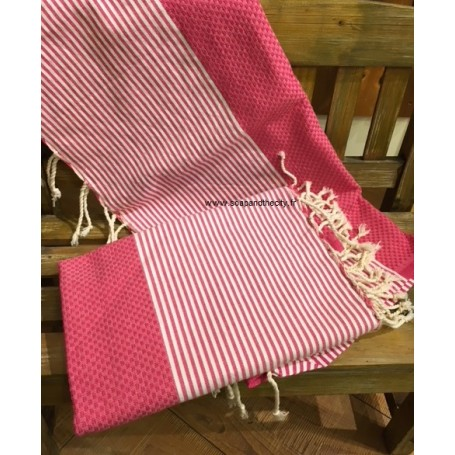 Fouta 100 x 200 cm - Framboise from La Boutique in Paris @ Soap and the City, soaps, candles, incens, perfumes and teddies