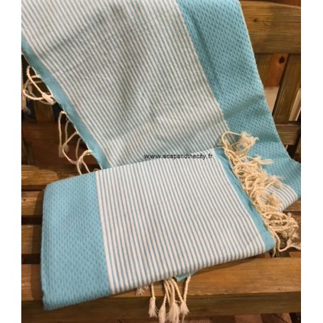 Fouta 100 x 200 cm - Turquoise from La Boutique in Paris @ Soap and the City, soaps, candles, incens, perfumes and teddies