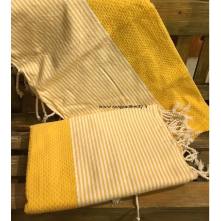 Fouta 100 x 200 cm - bouton d'or from La Boutique in Paris @ Soap and the City, soaps, candles, incens, perfumes and teddies