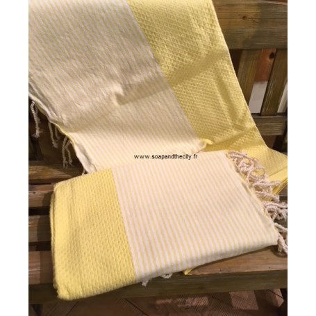 Fouta 100 x 200 cm - jaune La Boutique à Paris chez Soap and the City, savons, bougies, parfums, encens et peluches