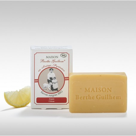 Savon surgras BIO, Argan Citron, 100gr, au lait de chèvre Berthe Guilhem à Paris chez Soap and the City, savons, bougies, par...