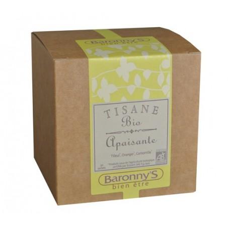 Tisane Apaisante, 20 sachets BIO Barrony's à Paris chez Soap and the City, savons, bougies, parfums, encens et peluches