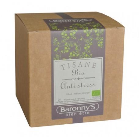Tisane Anti-stress, 20 sachets BIO Barrony's à Paris chez Soap and the City, savons, bougies, parfums, encens et peluches