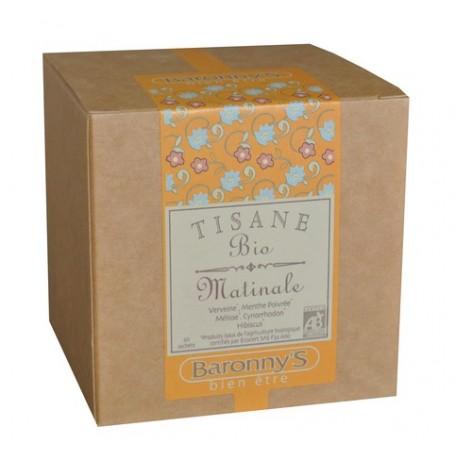 Tisane Matinale, 20 sachets BIO Barrony's à Paris chez Soap and the City, savons, bougies, parfums, encens et peluches