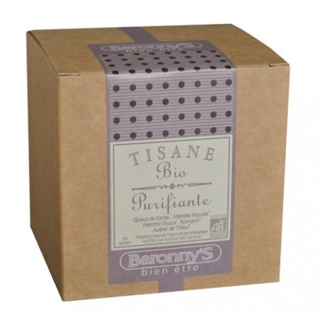 Tisane Purifiante, 20 sachets BIO Barrony's à Paris chez Soap and the City, savons, bougies, parfums, encens et peluches