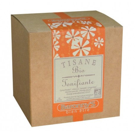 Tisane Tonifiante, 20 sachets BIO Barrony's à Paris chez Soap and the City, savons, bougies, parfums, encens et peluches