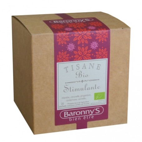 Tisane Stimulante, 20 sachets BIO Barrony's à Paris chez Soap and the City, savons, bougies, parfums, encens et peluches