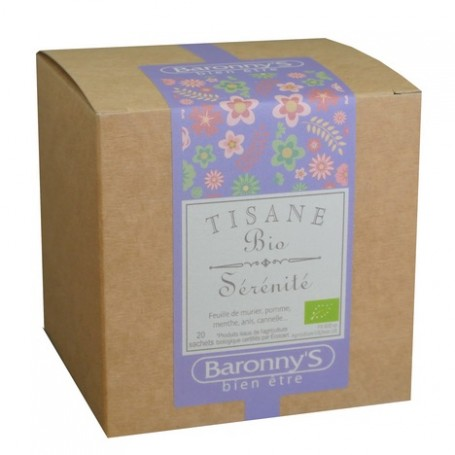Tisane Sérénité, 20 sachets BIO Barrony's à Paris chez Soap and the City, savons, bougies, parfums, encens et peluches