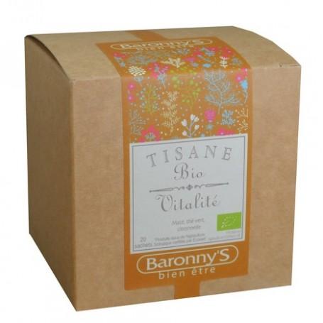 Tisane Vitalité, 20 sachets BIO Barrony's à Paris chez Soap and the City, savons, bougies, parfums, encens et peluches