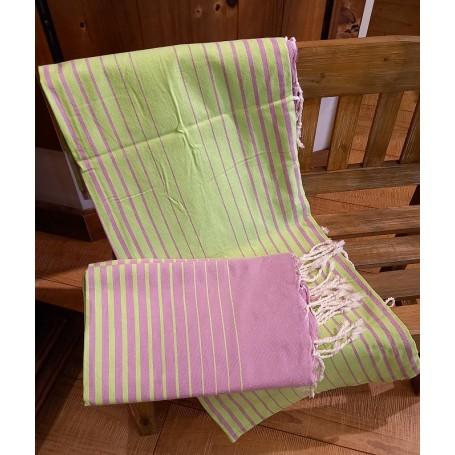 Fouta 100 x 200 cm - Vert et violet