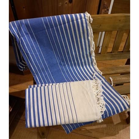 Fouta 100 x 200 cm - bleu et blanc