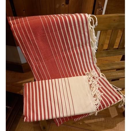 Fouta 100 x 200 cm - rouge et blanc