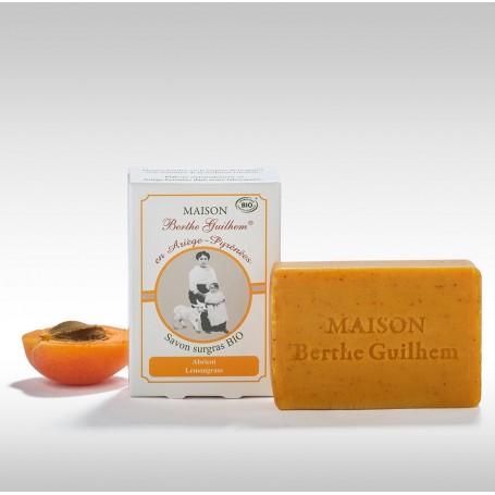 Savon surgras BIO, Abricot Lemongrass, 100gr, au lait de chèvre Berthe Guilhem à Paris chez Soap and the City, savons, bougie...